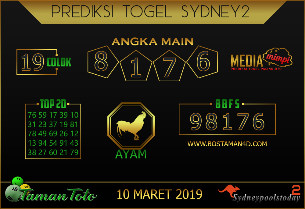 Prediksi Togel SYDNEY 2 TAMAN TOTO 10 MARET 2019