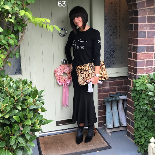 my midlife fashion, marks and spencer fluted hem ponte pencil skirt, bella freud je taime jane crew neck jumper, zara leopard print bag, marks and spencer pure cashmere slash gloves, marks and spencer kitten heel leopard print ankle boots