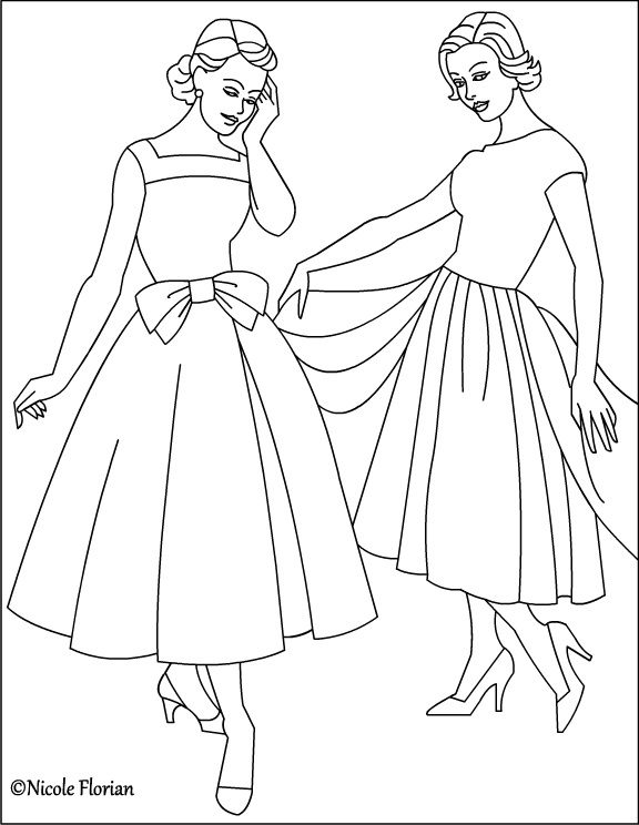 Vintage coloring pages 1950s ~ Nicole's Free Coloring Pages: Vintage Fashion * Coloring pages