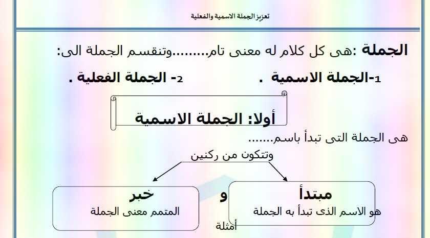 ورقة عمل درس تعزيز الجملة الاسمية والفعلية لغة عربية للصف الخامس فصل أول