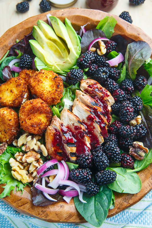 Blackberry Balsamic Grilled Chicken Salad with Crispy Fried Goat ...