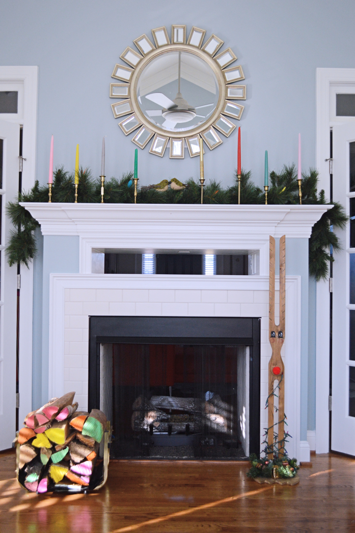 Colorful Holiday Mantel