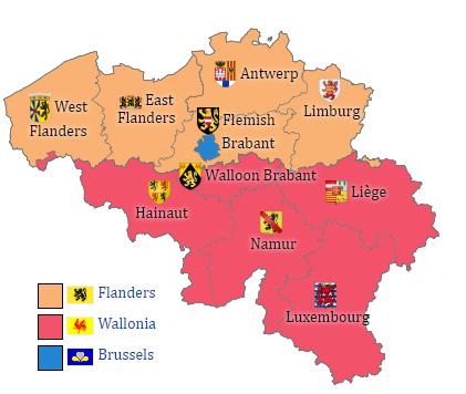 Peta pembagian wilayah administratif Belgia