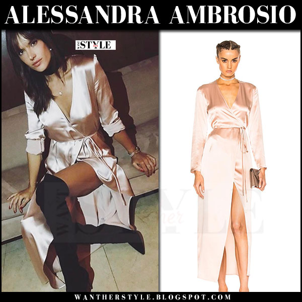 Alessandra Ambrosio in pink silk wrap dress theperfext fwrd what she wore