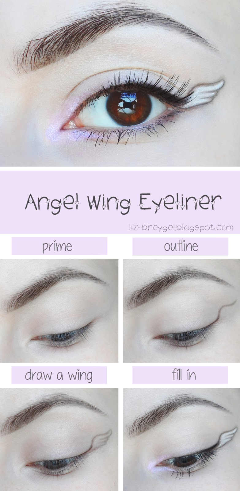 beauty angel blogger liz breygel sweet angel wing eyeliner style step by step makeup look tutorial