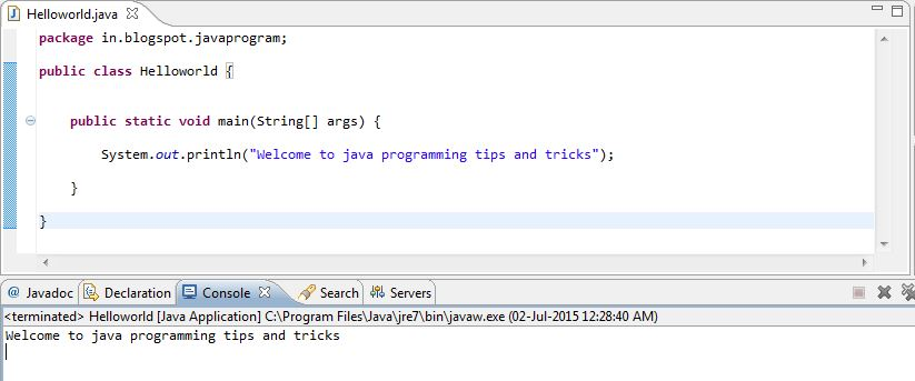 Java programming tips and tricks: Write a program to print welcome