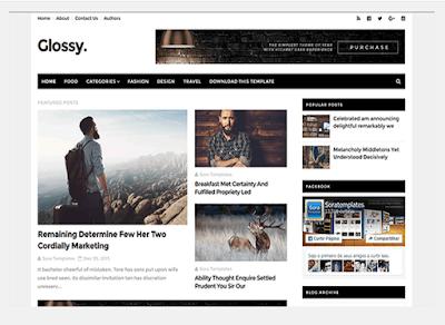 Glossy Blogger Template - Template Responsive SEO Terbaru Sora Templates