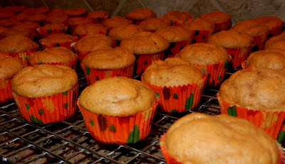 baked mini pumpkin cupcakes on a cooling rack