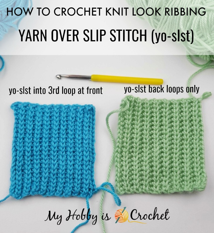 Knit Look Crochet Ribbing - Yarn Over Slip Stitch into 3rd. Loop at the Front