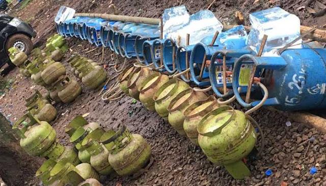Di Bogor Ditemukan Tempat Pengoplosan Tabung Elpiji 3 Kg Dioplos dengan Air ke Tabung 12 Kg