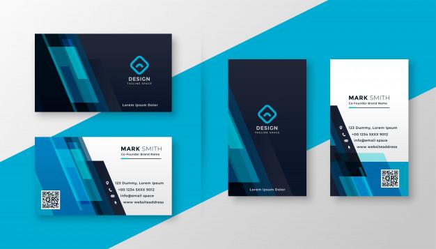 Stylish blue elegant business card design Free Vector