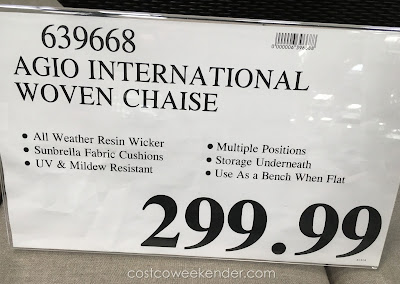 Deal for the Agio International Santa Ana Woven Chaise Lounger at Costco