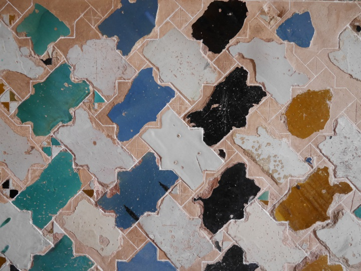 Beauchtiful pattern of tiles, found in Alhambra, Granada