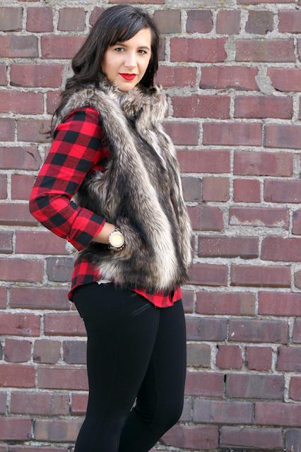 Buffalo Plaid Fall Outfit Faux Fur Vest under $100