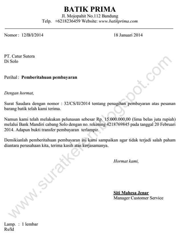 contoh surat pemberitahuan perusahaan