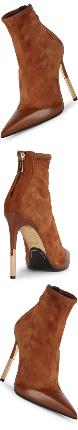 Balmain Blair Suede & Leather Booties