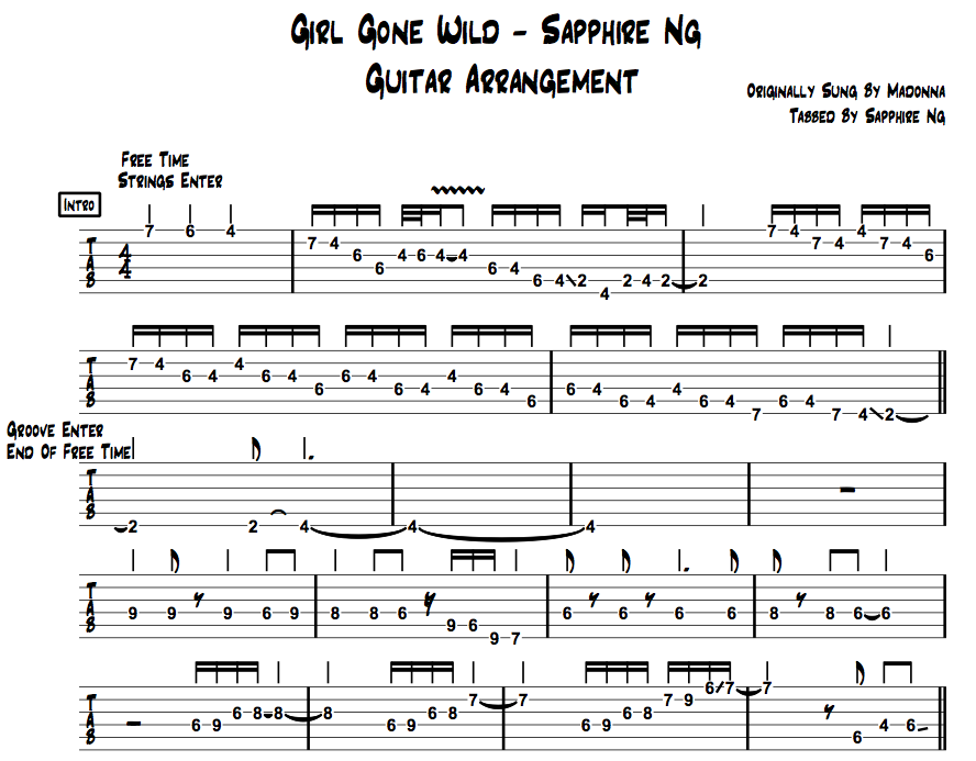 sapphire ng guitar tab girl gone wild guitar arrangement by sapphire ng. Black Bedroom Furniture Sets. Home Design Ideas
