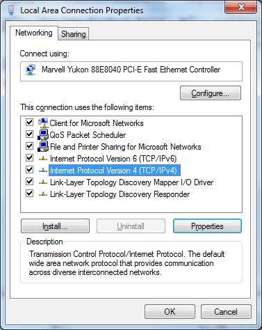 LAN version properties when viewing networking tab setting