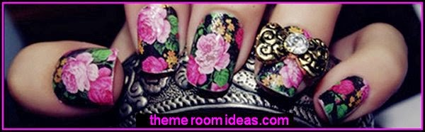 flower themed nail art-flower nail decals-flower nail stickers-floral nail stickers
