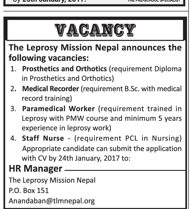 Paramedical Workers & Staff Nurse - Leprosy Mission Nepal(24th Jan 2017)