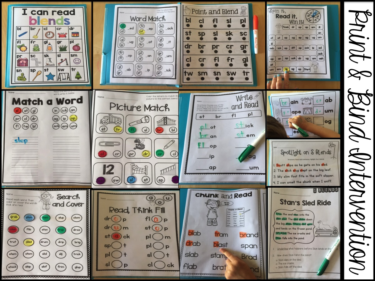 Sarah S First Grade Snippets Consonant Blend Intervention Activities