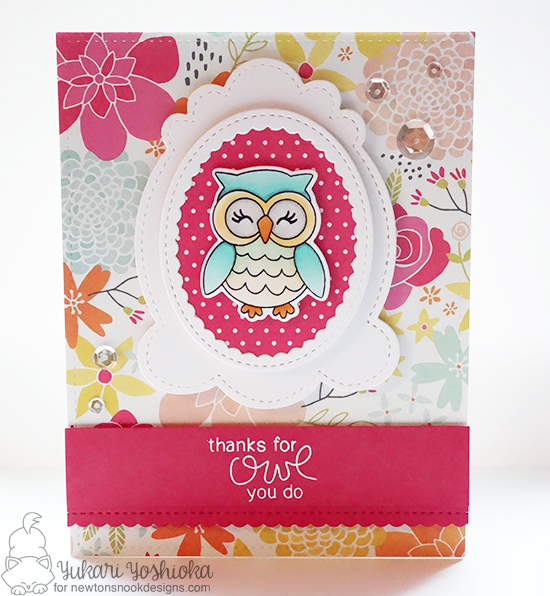 Owl card by Yukari Yoshioka | What a Hoot Stamp Set & Die Set by Newton's Nook Designs #newtonsnook