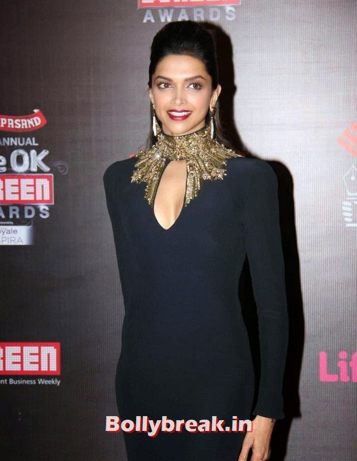 Deepika Padukone Dress at Screen Awards 2014, A-List Bollywood Actresses at Screen Awards - Deepika, Sonakshi, Bipasha & Neha