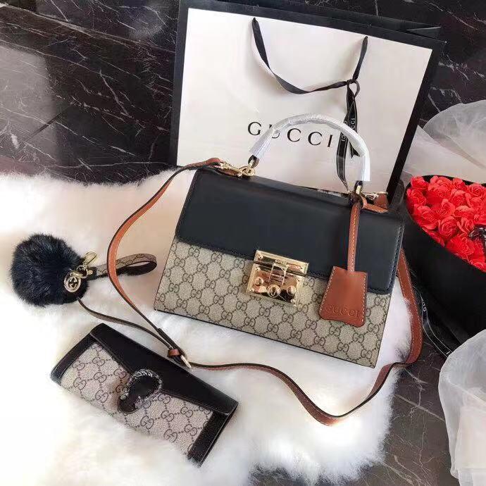 595e231c0662 GUCCI Set Handbags 3 in 1  Padlock Small GG Top Handle Bag Style 453188  KLQJG 9785 + Wallet   Purse + Fluffy Ball Key Chain