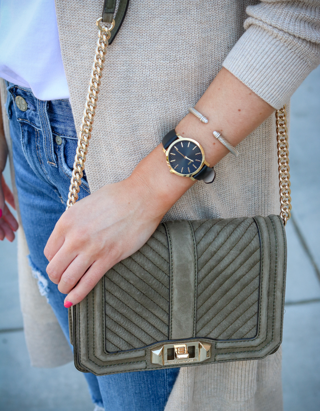 timex black watch and olive rebecca minkoff bag