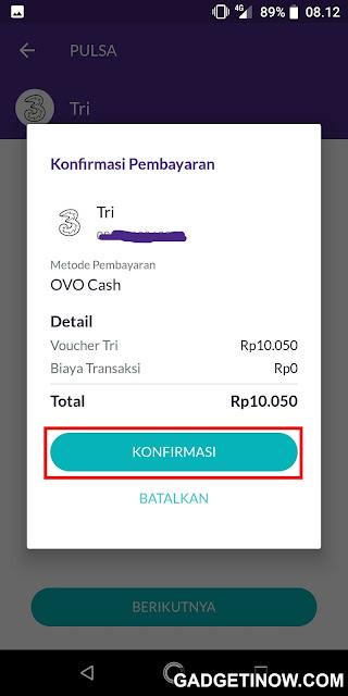 konfirmasi pembelian pulsa lewat aplikasi ovo