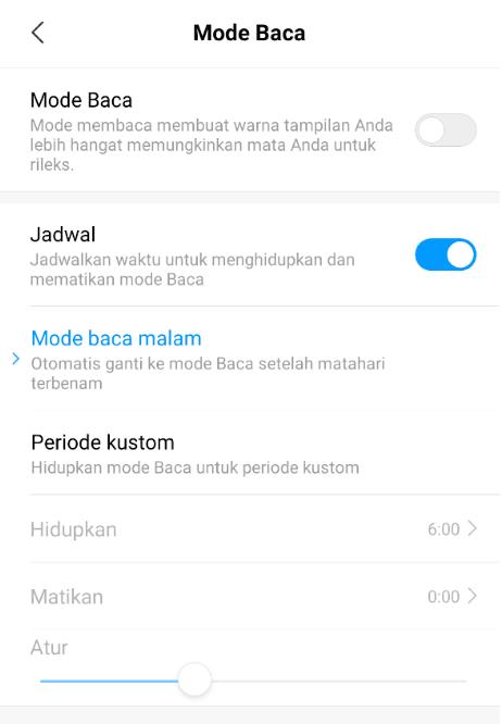 Mode Baca Xiaomi