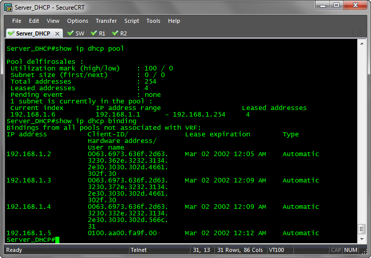 Configuraci n de un router cisco como un servidor dhcp for Show dhcp pool cisco switch