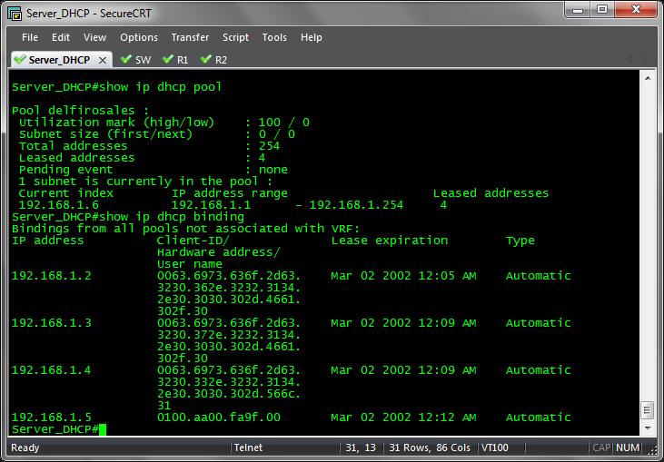 Configuraci n de un router cisco como un servidor dhcp for Cisco show pool dhcp