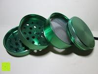 von unten nach oben: DCOU tabak schleifer Alu tobacco grinder tabak spice herb pollen anlage gras mühle 4 schichten aluminium crusher - Ø55mm H48mm grün