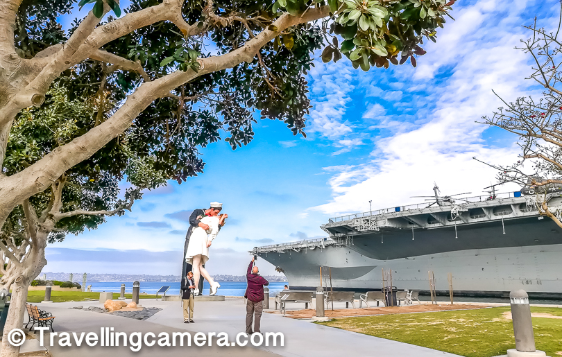 Unconditional surrender statue is pretty close to Midway Aircraft Carrier Museum and clearly visible from the deck. You may want to check out the link to know more about this statue and why you see these in different parts of US.
