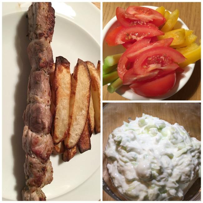 Slimming-world-tzatziki-recipe-collage-pork-skewers-raw-vegetables-tzatziki