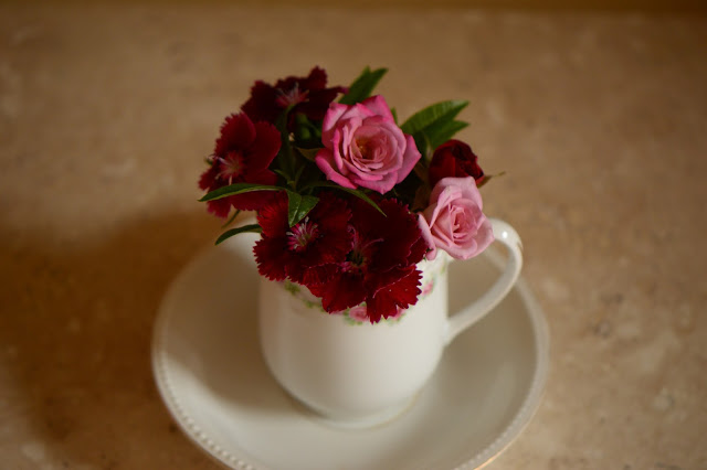 "monday vase meme, dianthus, rose ""Lavender"", Kordes, small sunny garden, amy myers, desert garden, old china"