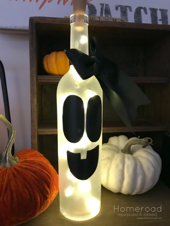 Halloween Wine Bottle Ghost Light