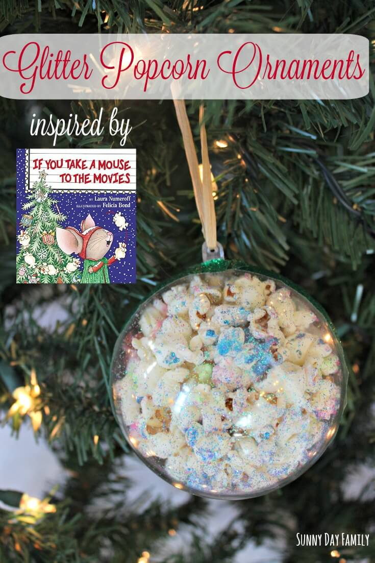 A fun and easy Christmas Ornament for kids to make inspired by If You Take a Mouse to the Movies! Preschoolers will love making these homemade Christmas ornaments and you'll love how sparkly they are on the tree!