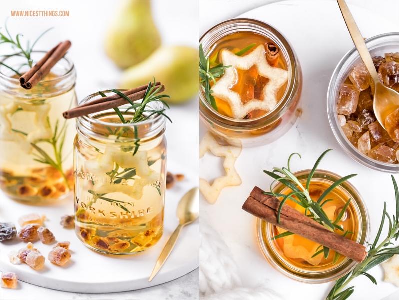 Birnenpunsch mit Amaretto, Kandis, Zimt und weissem Tee
