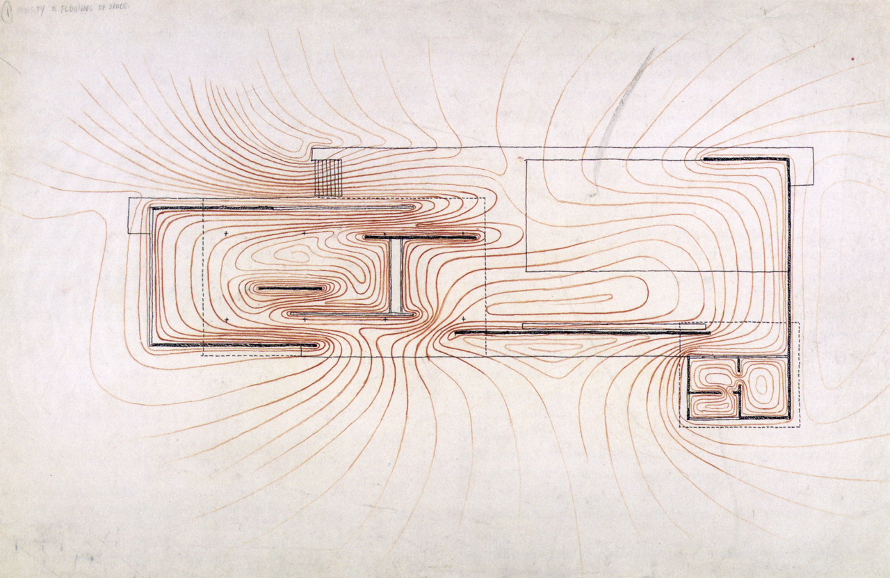 Barcelona pavilion section drawing - Barcelona Pavilion Study Drawings And An Interview By Paul Rudolph