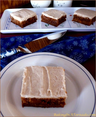 Frosted Gingerbread Bars: cinnamon, molasses and ginger flavor these bars, topped with a spiced frosting | Recipe developed by www.BakingInaTornado.com | #recipe #bake