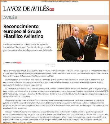 Premio europeo al Grupo Filatélico de Avilés