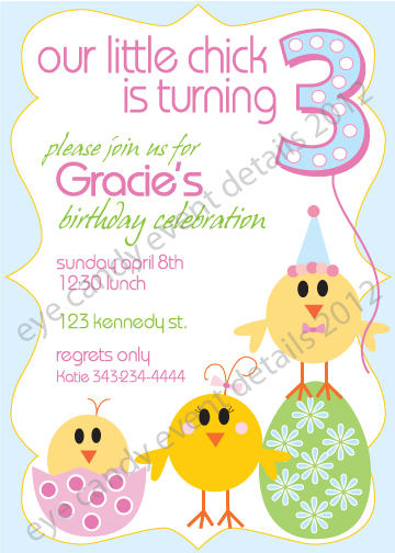 happy birthday easter chick invite, easter birthday, kids easter birthday idea
