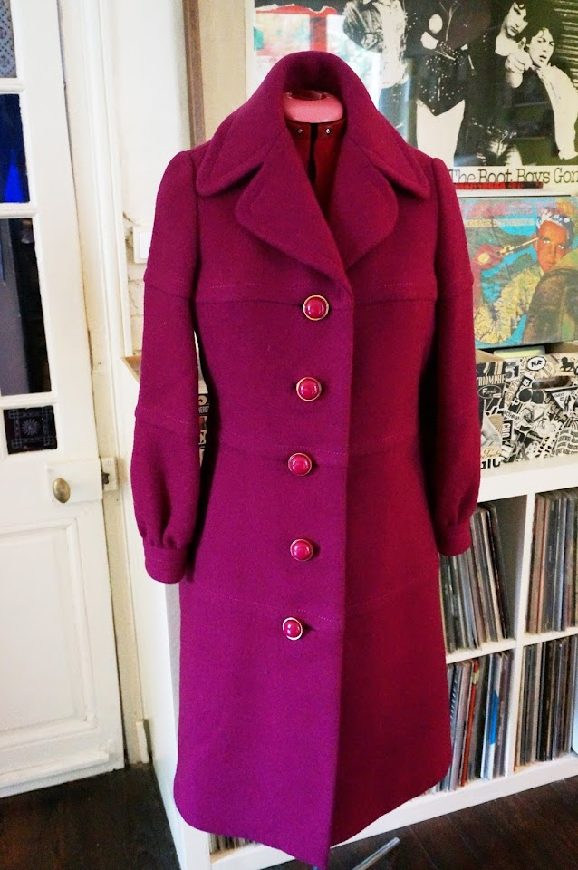 vintage 70s purple wool coat 1970s manteau violet années 70