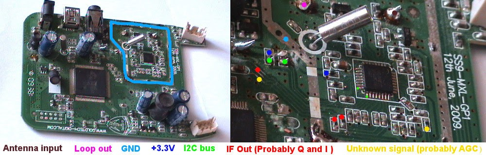 MxL5007T tuner and important pins marked on the original PCB