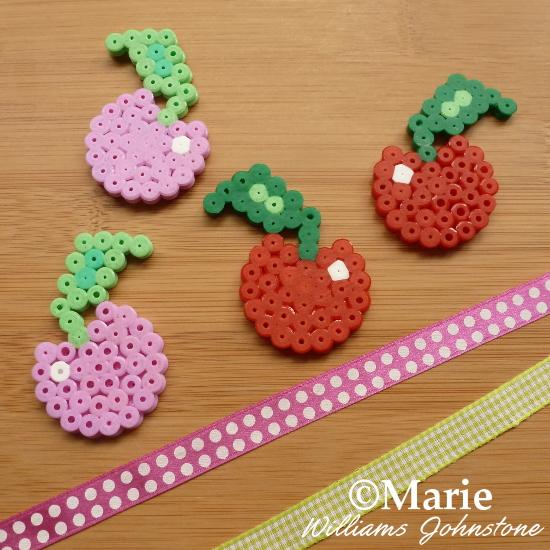 Cherry fruit fused hama perler bead embellishments designs craft