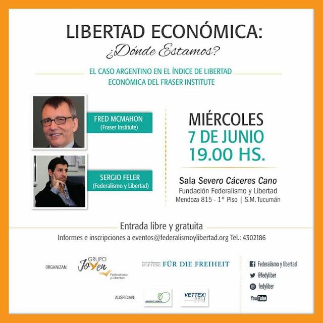 Sergio Feler y un experto del Fraser Institute disertarán sobre Argentina en el índice de libertad económica
