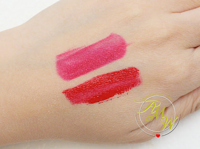 a swatch photo of CLINIQUE Pop Matte Rose Pop + Primer and Pop Liquid Color + Primer Flame Pop