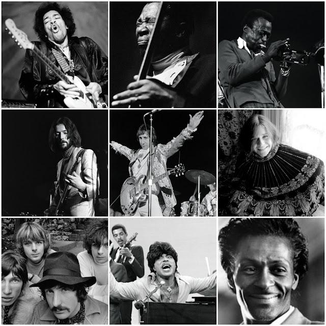 Jimi Hendrix, B.B. King, Miles Davis, Eric Clapton, Pete Townshend, Janis Joplin, Pink Floyd, Little Richard e Chuck Berry